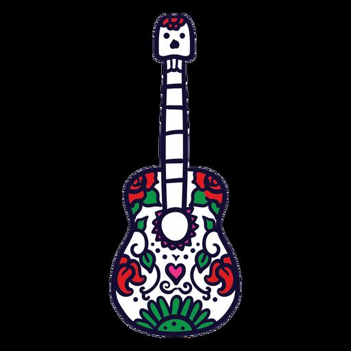Dibujado a mano guitarra floral mexicana