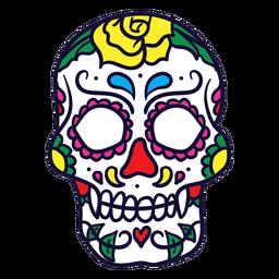 Dibujado a mano calavera floral dia de muertos mexicano