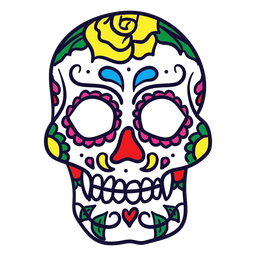 Hand drawn floral skull mexican day of dead