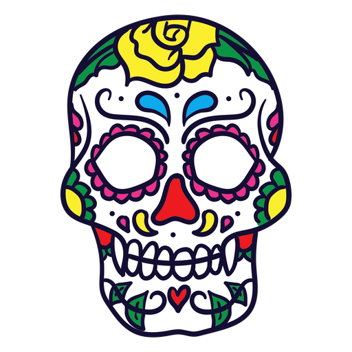 Hand drawn floral skull mexican day of dead Transparent PNG