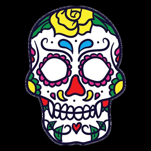 Mexikanischer Tag des toten gezeichneten Blumenschädels der Hand