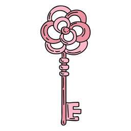 Hand drawn flower pink ornate key