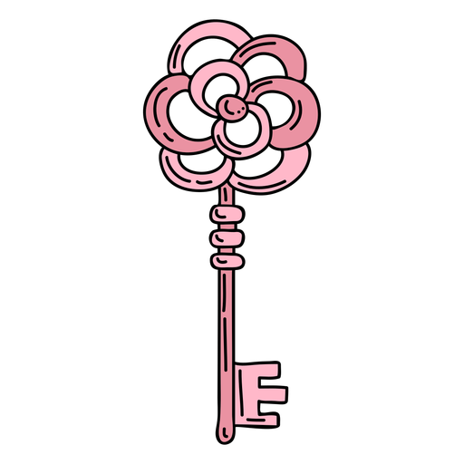 Dibujado a mano flor rosa clave adornada