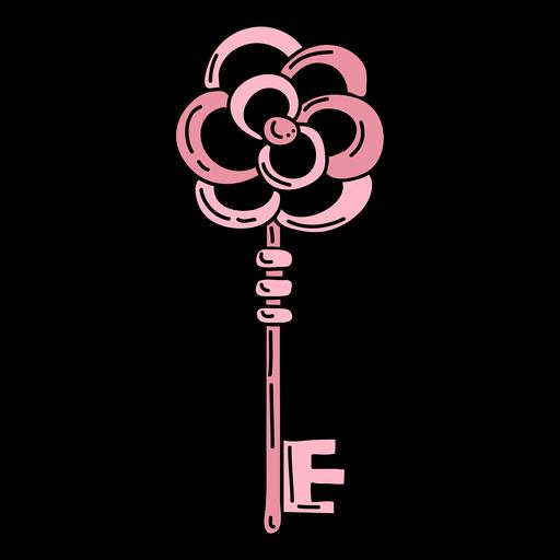 Hand drawn flower pink ornate key