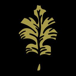 Hand drawn green oak leaf