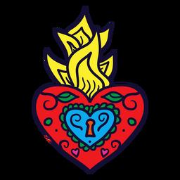 Dibujado a mano corazón llama mexicana