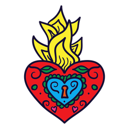 Hand drawn heart flame mexican