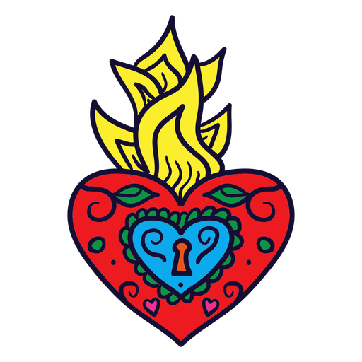 Hand Drawn Heart Flame Mexican Transparent Png Svg Vector File Use to make your decorative products. hand drawn heart flame mexican