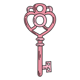 Hand drawn heart pink ornate key