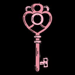 Llave adornada rosa corazón dibujado a mano