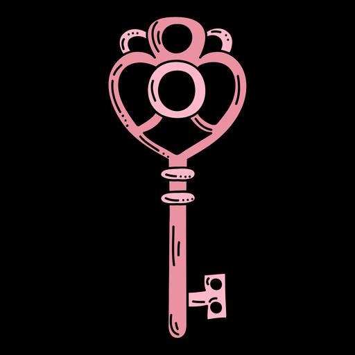 Dibujado a mano corazón rosa llave adornada
