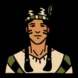 Pena de homem indígena desenhada de mão