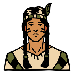 Pluma de hombre indígena dibujado a mano