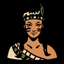 Tocado de plumas de mujer indígena dibujado a mano