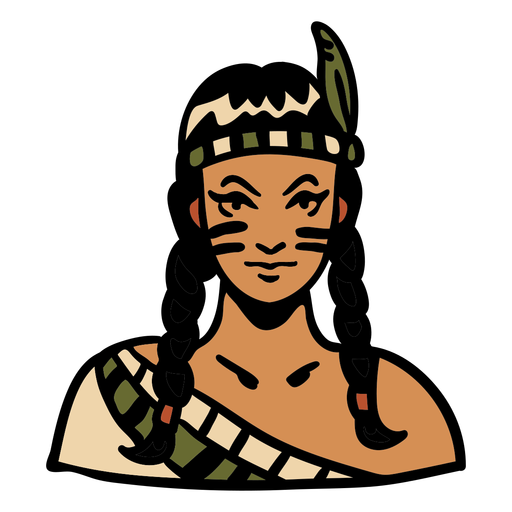 Hand drawn indigenous woman feather headdress