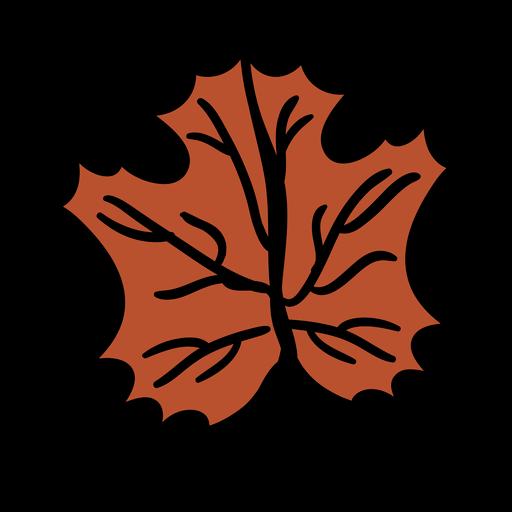 Dibujado a mano hoja de arce marrón