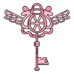 Hand drawn ornate key pink