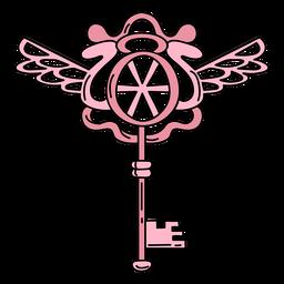 Llave adornada dibujada a mano rosa