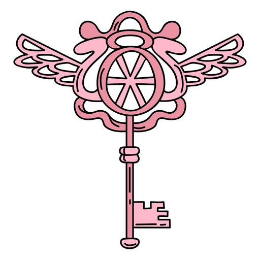 Dibujado a mano clave adornado rosa