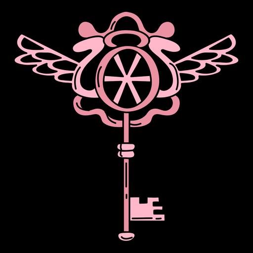 Hand drawn ornate key pink