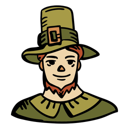 Hand drawn pilgrim man