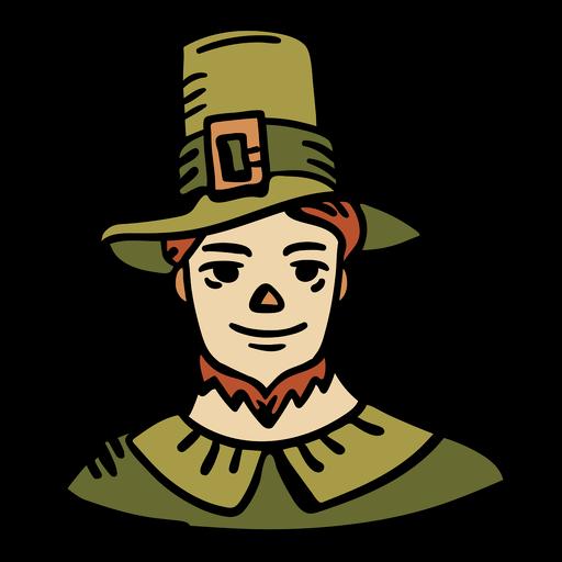 Hand drawn pilgrim man