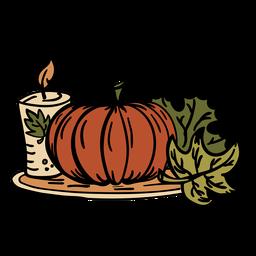 Dibujado a mano vela de calabaza de acción de gracias