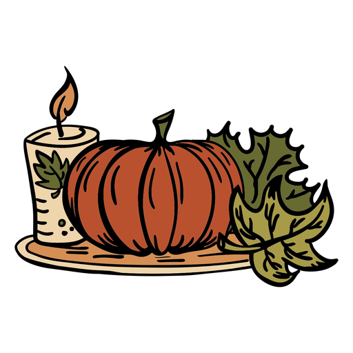 Hand drawn pumpkin candle thanksgiving Transparent PNG