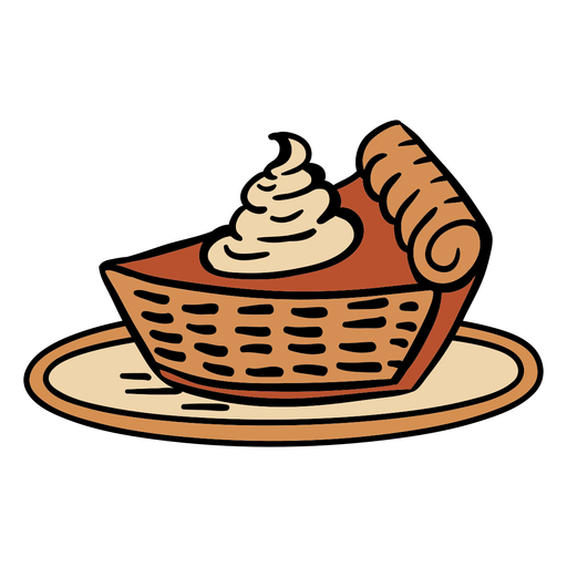 Hand drawn pumpkin pie on plate Transparent PNG