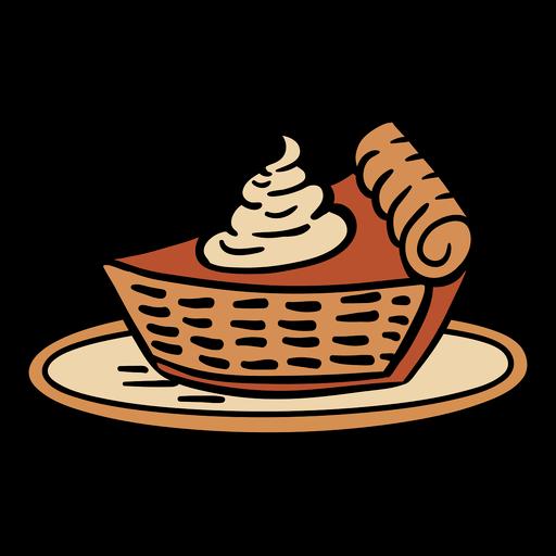 Pastel de calabaza dibujado a mano en plato Transparent PNG