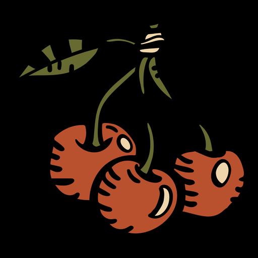 Cereza roja dibujada a mano