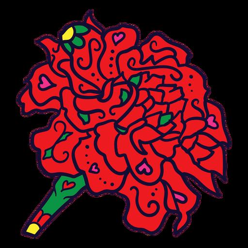 Ramo de flores rojas dibujadas a mano