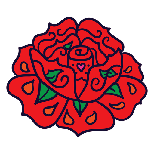 Hand drawn red flower mexican