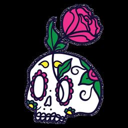 Dibujado a mano rosa calavera mexicana día de muertos