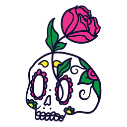 Hand drawn rose skull mexican day of dead