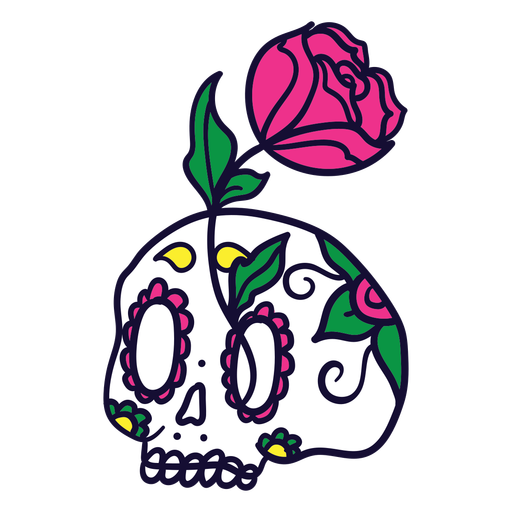 Hand drawn rose skull mexican day of dead Transparent PNG