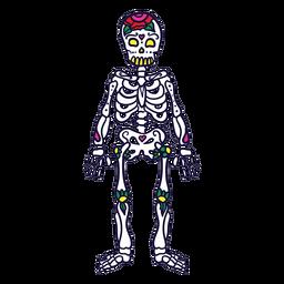 Dibujado a mano esqueleto mexicano dia de muertos