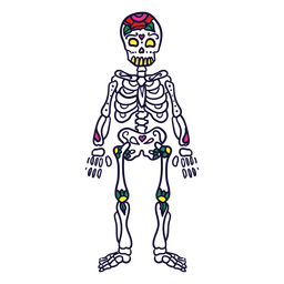 Hand drawn skeleton mexican day of dead