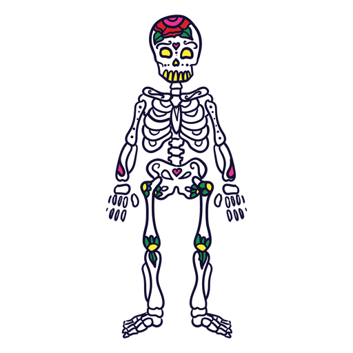 Hand drawn skeleton mexican day of dead Transparent PNG