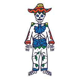 Hand drawn skeleton suit mexican day of dead