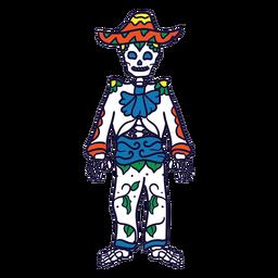 Traje de esqueleto dibujado a mano dia de muertos mexicano