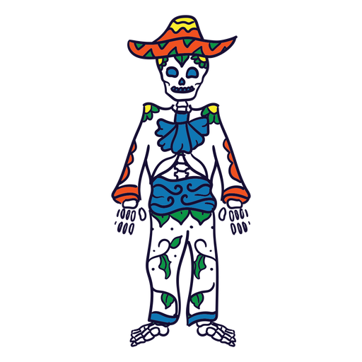 Hand drawn skeleton suit mexican day of dead Transparent PNG