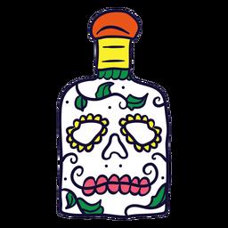 Dibujado a mano calavera botella dia de muertos mexicano