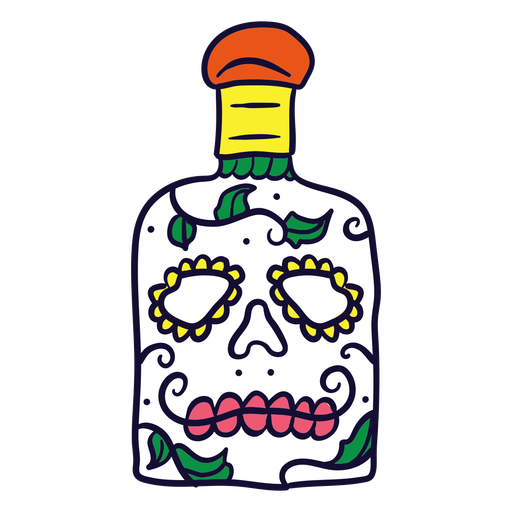 Hand drawn skull bottle mexican day of dead