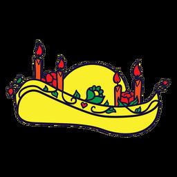 Dibujado a mano velas de somrero día mexicano de muertos