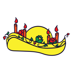 Velas somrero dibujadas a mano día mexicano de muertos