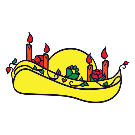 Hand drawn somrero candles mexican day of dead