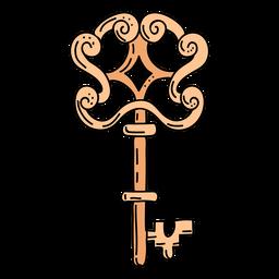 Hand drawn swirl orange ornate key