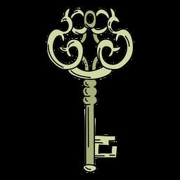 Florero dibujado a mano verde llave adornada