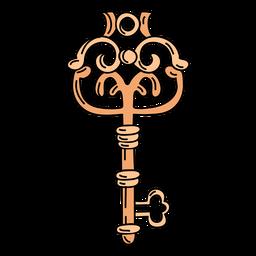 Dibujado a mano jarrón naranja llave adornada